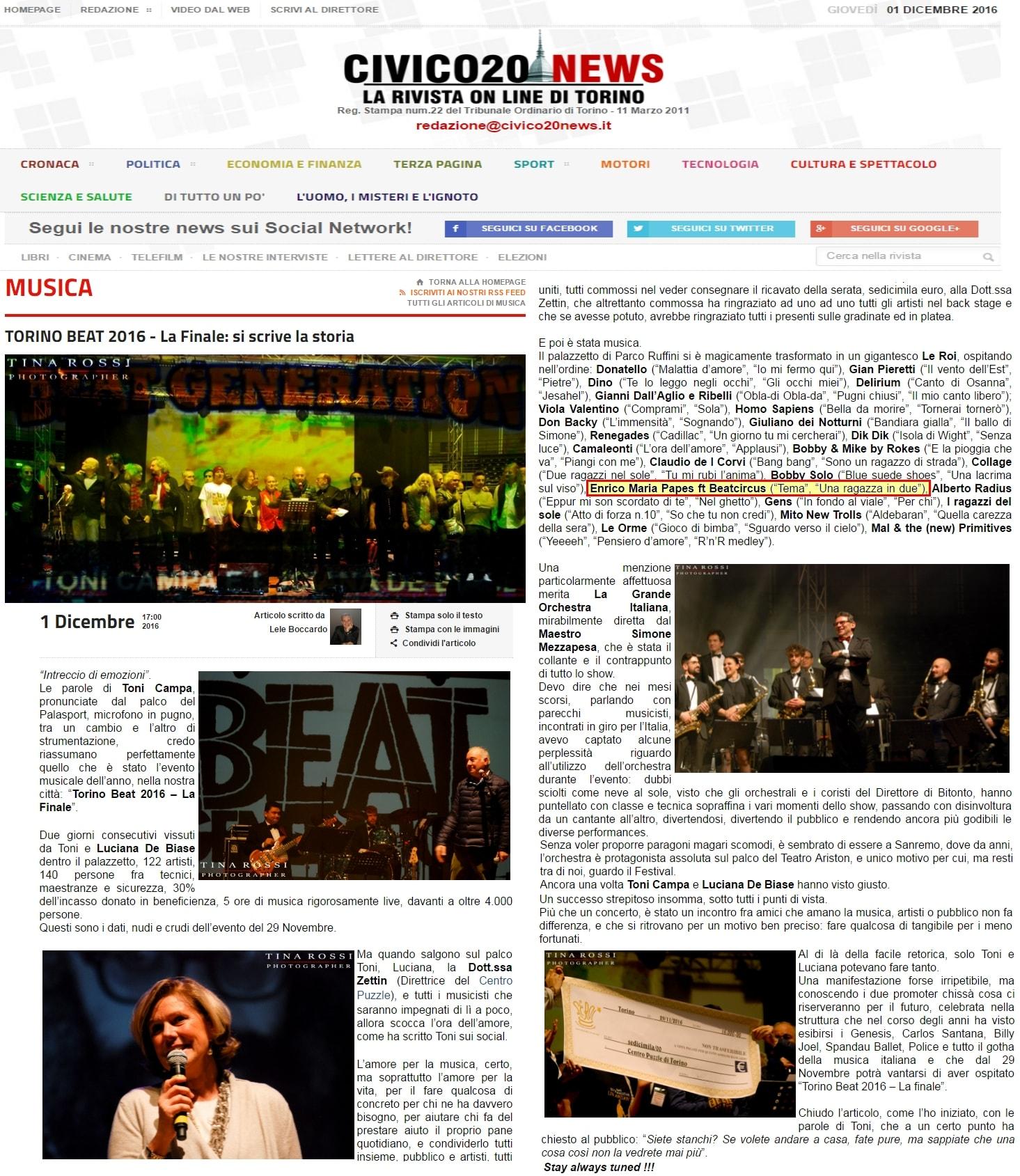Articolo Civico Torino Beat 2016 la Finale giovedi 1 dicembre 2016