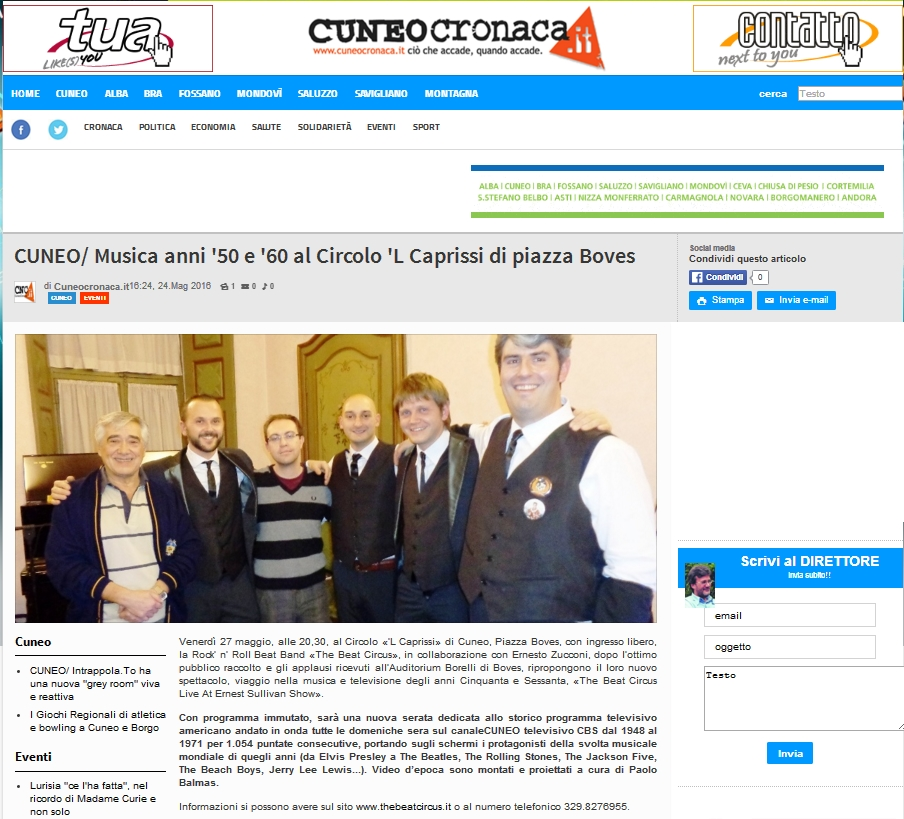 CUNEO CRONACA 24 maggio 2016 - THE BEAT CIRCUS LIVE AT ERNEST SULLIVAN SHOW