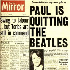 DAILY MIRROR 10 APRILE 1970: PAUL IS QUITTING THE BEATLES - THE BEAT CIRCUS CUNEO