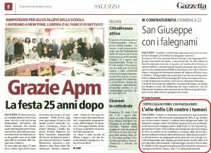 LA NUOVA GAZZETTA DI SALUZZO 19-03-15 PROMOZIONE LILT PAGINA 8 SALUZZO