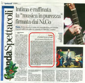 LA STAMPA 09 DICEMBRE 2015 PAG. 52 - THE BEAT CIRCUS CUNEO