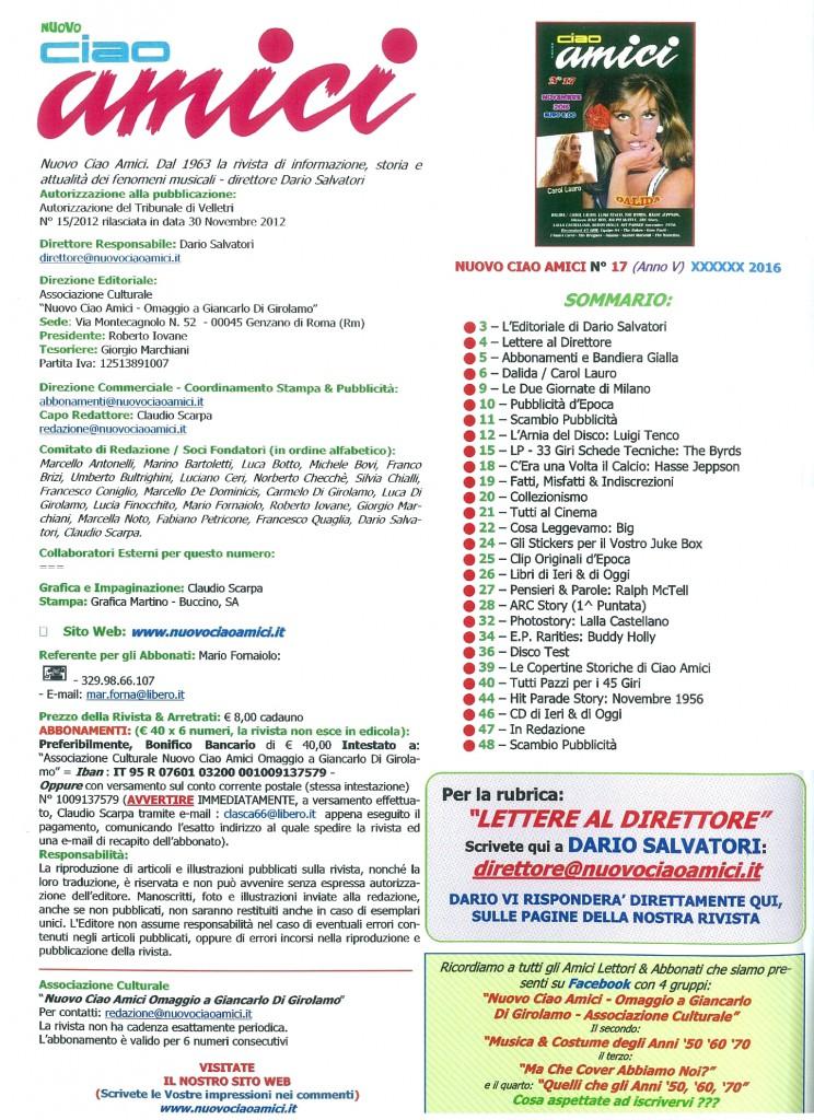 NUOVO CIAO AMICI INDICE N 17 DICEMBRE 2016 - INDICE - THE BEAT CIRCUS